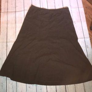 Brown lightweight Corduroy Modest Flare Skirt 14 A